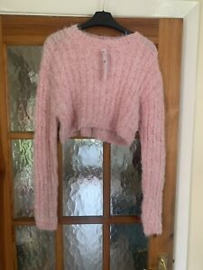 Topshop Size Small 8-10 Light Pink Cropped Jumper Brand New Bnwt