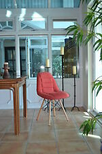 RED Fabric Cushion Eames DSW Reception Wooden Dining Chairs Limited Design