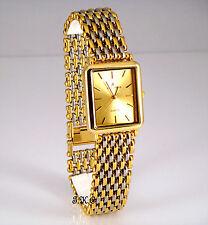 18K Gold Pltd Silver Mesh Net Ladies Plus Size Adjust 2 Petite Dress Wrist Watch