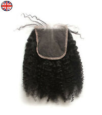 "Afro Kinky Curl Cabello Despedida cierre superior 6A brasileña Pelo humano Remy 4x4"" Encaje"