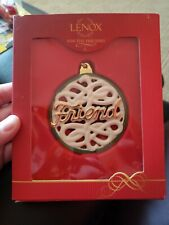 Lenox For My Friend Ball For the Holidays Christmas Ornament Ceramic White Gold