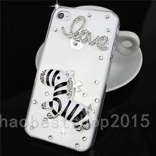 3D Handmade Glitter Luxury Bling Diamond Soft TPU Gel Rubber Phone Cover Case #D