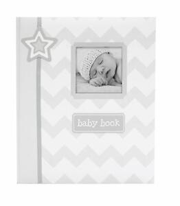 MY BABY FIRST MEMORIES BOOK - LIL PEACH BOYS GREY ZIGZAG - KEEPSAKE RECORD ALBUM