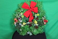 "20"" Christmas Wreath W/Red Bow Plastic Pine Bows Fruit Holly Wall/Door Display"