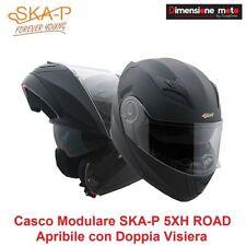 """Casco Modulare Doppia Visiera """"SKA-P"""" ROAD Colore Nero Gommato Taglia XS 53/54cm"""