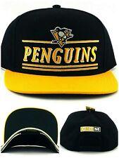 Pittsburgh Penguins New Adidas CCM Black Gold Stacked Retro Era Snapback Hat Cap