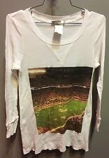 $81 New Rebel Yell Brand Fitted Solid White W Football Graphic Thermal Size M