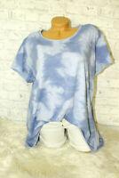 Italy T-Shirt Vintage Gr. 36 38 40 42 Shirt Oversized Long Puder blau blogger