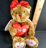Valentine Brown Bear With Heart And Wings Plush Stuffed Animal Toy Doll