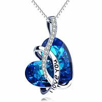 """Swirl """"My Love Forever"""" Heart Necklace made with Blue Swarovski Crystal"""