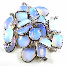 Bulk Price Lot !! 50 PCs Opalite Gemstone Silver Plated Necklace Pendant Jewelry
