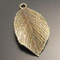 02497 Antique Style Bronze Tone Alloy Leaf Shape Pendant Jewelry Finding 16pcs