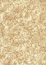Beige Swirl Flannel Quilt Backing Fabric 280cm Wide Sold per 1/2 Metre