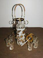 VINTAGE BAR GOLD LEAF 6 WHISKEY SHOT GLASS PUMP DECANTER