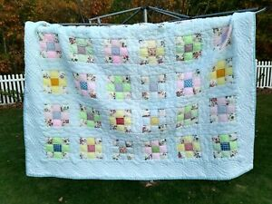 "Handmade Double Bed Full Size 80"" X 88"" - 9 Patch Blocks - Cotton Quilt"