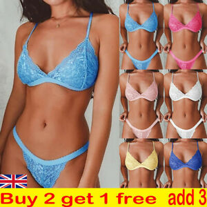 Womens Sexy Wireless Lace Lingerie Set Push Up Bra Shorts Panties Underwear Set