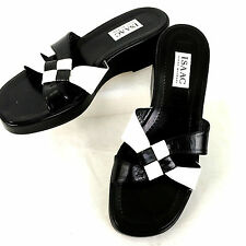 Isaac Mizrahi Black & White Shoes Slides Womens 9 B Leather Upper & Sole; Italy