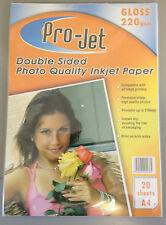 100 SHEETS (5 PACKS OF 20) GLOSS DOUBLE SIDED PHOTO PAPER PROJET A4 220GSM