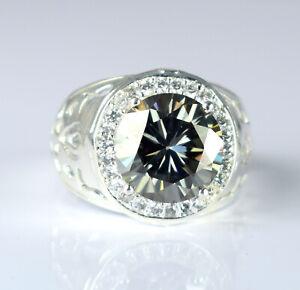 Premium Quality 6.72 Ct Gray Diamond Solitaire Men's Designer Ring With Accents