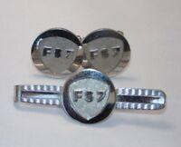 Vintage MINT Set Mens Cuff Links Cufflinks Tie Bar Pin Silver Crest FSJ or FS7