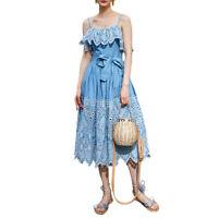 Women's Spaghetti Strap Cotton Eyelet Self Belted Midi Day Dress in Blue 6 8 AUS