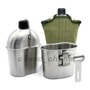 0.8QT Mug Cup 1QT 1.2QT Military Canteen Stainless Steel Water Bottle Camping