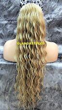 Human Hair Blend Long Ash Blonde Spiral Curls Ponytail HairPiece Extension NWT