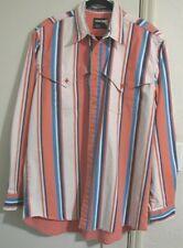 Vintage Wrangler heavy denim shirt men's stripe white blue melon button up 17/36