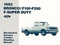 OEM Repair Maintenance Shop Manual Ford Bronco/F150-350/F-Super Duty Evtm 1992
