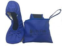 NEW Blue Small Size  Flat Pumps Women Foldable Ballet Shoes in Bag UK SIZE 5/6