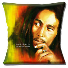 """Bob Marley Jamaican Singer 16""""x16"""" 40cm Cushion Cover Song Quote Love the Life"""