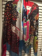 $300 CHRISTIAN LACROIX Extra Large Multi 100% Silk Foulard Scarf Wrap Italy NWT