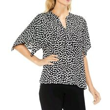 Vince Camuto Black White Polka Dots V-Neck Blouse Capulet Top Womens Sz L