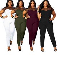Women Lady Playsuit Bodycon Short Sleeve Top Jumpsuit Romper Trousers Plus Size