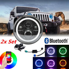 2kit RGB Halo Lamp LED Headlight Blueteeth Phone Control For Jeep GMC Ford Truck