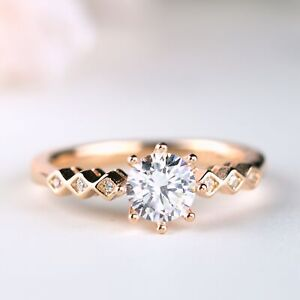 1 ct Brilliant Round Cut 8-prong Rose Gold 925 Silver Engagement Ring Size 6 7 8