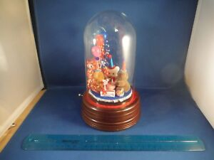 """Adorable Glass Domed Teddy Bears """"Happy Birthday"""" Party Music Box"""