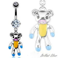 Belly Button Piercing Navel Stud Piercing Teddy Bear Pendant Crystal White