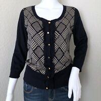 MaxMara Weekend Women's Cardigan Size Large Navy Wool Silk Embellished Buttons