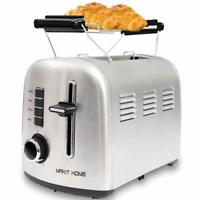 2 Slice Compact Toaster Stainless Steel Extra Wide Slot with Manual Lift Lever