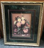 Albert Williams Flower Painting Art Print Framed & Double Matted, Gold Fram