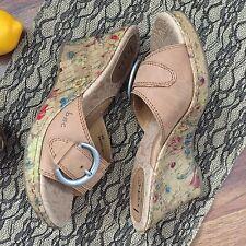 b.o.c. Born Concept Floral Wedge Sandal Size 8 Tan Buckle Cork Heel