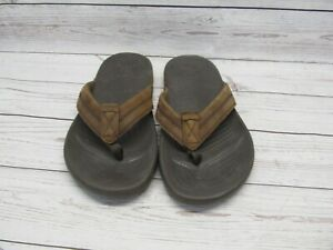 Crocs Slip On Flip Flop Sandals Mens Size 9 Womens size 11 Tan Brown Leather