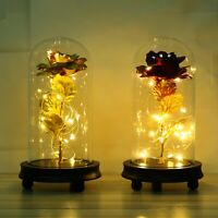 Eternal Foil Artificial Rose Flower LED Light w/Glass Dome Wedding Xmas Gift