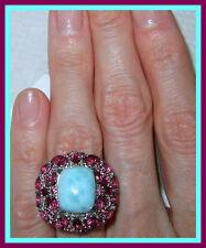 Larimar TGW 11.3 ct Orissa Rhodolite Garnet  / Diamond Ring Sterling Silver sz 9