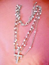 RHINESTONE STUDDED CROSS PENDANT ON MULTI CHAIN-LINK STRAND W/FAUX PEARLS, BEADS