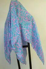 Nwt vntg 80s Pink silk L scarf modern art abstract drip POLLOCK Starburst atomic