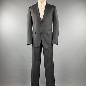 VALENTINO Size 40 Grey Stripe Regular Virgin Wool Notch Lapel Suit