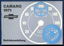 Owner'S MANUAL * Manuale di istruzioni 1971 Chevrolet Camaro (D)