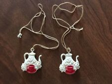 Vintage 50's Window Shade Pulls (2) Plastic Teapots with red teacup